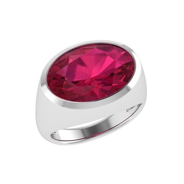 Ruby Gemstone Oval Ring 14K Gold