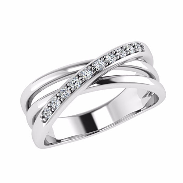 Crossover Diamond Ring 14K Gold - Thenetjeweler