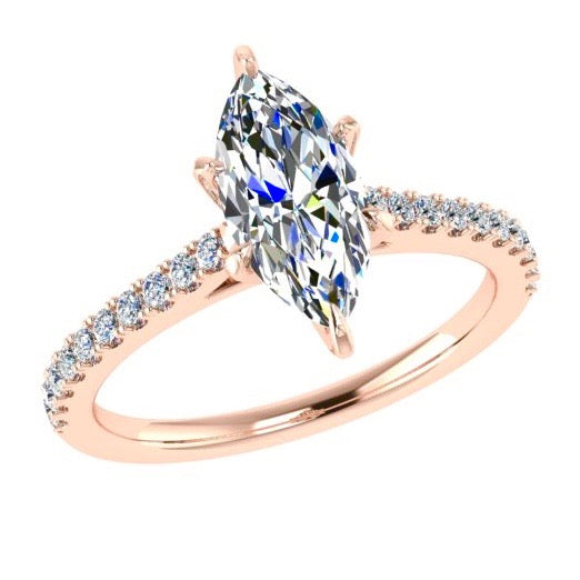 Marquise Diamond Engagement Ring with Side Stones 18K Rose Gold (0.21 ct. tw) - Thenetjeweler