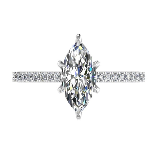 Marquise Diamond Engagement Ring with Side Stones 18K Gold