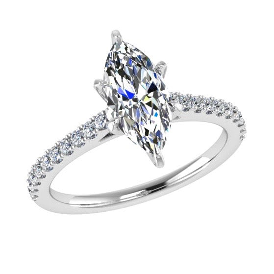 Marquise Diamond Engagement Ring with Side Stones 18K Gold (0.21 ct. tw) - Thenetjeweler