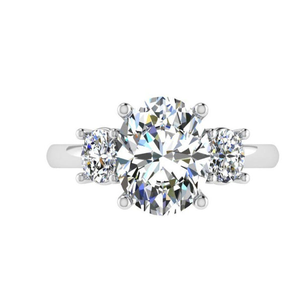 Oval Three Stone Diamond Engagement Ring 0.53 ct. t.w - Thenetjeweler by Importex