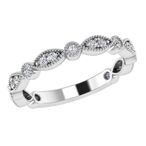 Round and Marquise Diamond Semi Eternity Ring 18K Gold (0.20 ct. tw.) - Thenetjeweler