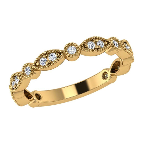 Round & Marquise Diamond Semi Eternity Ring