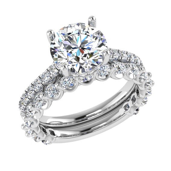 Diamond Engagement Ring & Semi Eternity Bridal Ring Set