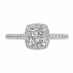 Cushion Halo Diamond Engagement Ring 18K White Gold (0.36 CT. TW) - Thenetjeweler by Importex