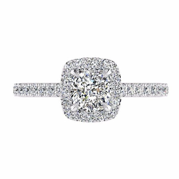 Cushion Halo Diamond Engagement Ring 18K White Gold (0.36 CT. TW) - Thenetjeweler