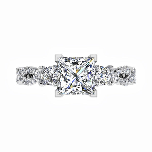 Princess Diamond Engagement Ring with Side Stones 18K Gold