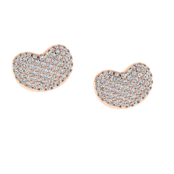 Diamond Heart Stud Earrings 18K Rose Gold