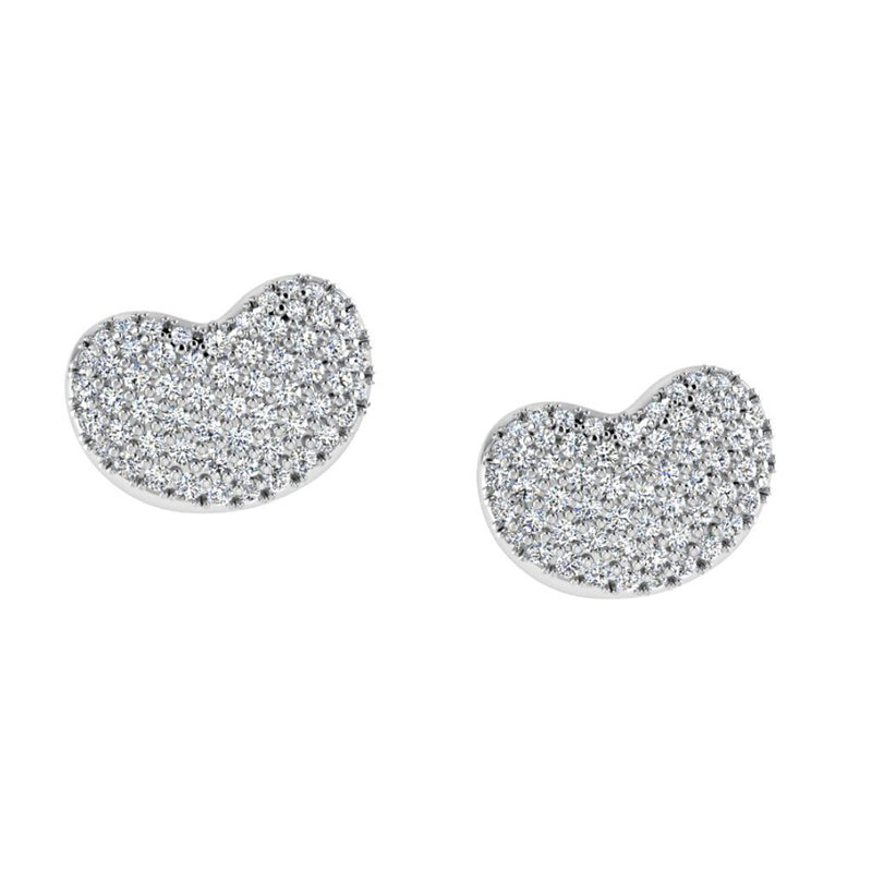 Diamond Heart Stud Earrings 18k Gold (0.45 carat .tw.) - Thenetjeweler