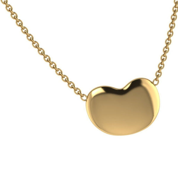 Puffed Heart Pendant Necklace 18K Gold - Thenetjeweler