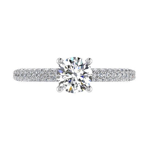 Round Diamond Side Stone Engagement Ring 18K Gold (0.60 ct.tw.) - Thenetjeweler