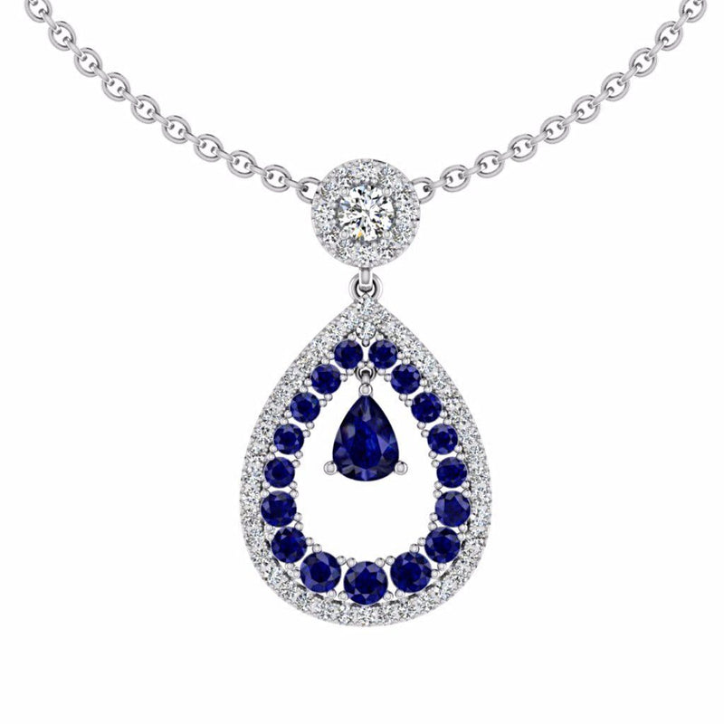 Diamond and Sapphire Pear Shaped Halo Pendant 18K Gold - Thenetjeweler