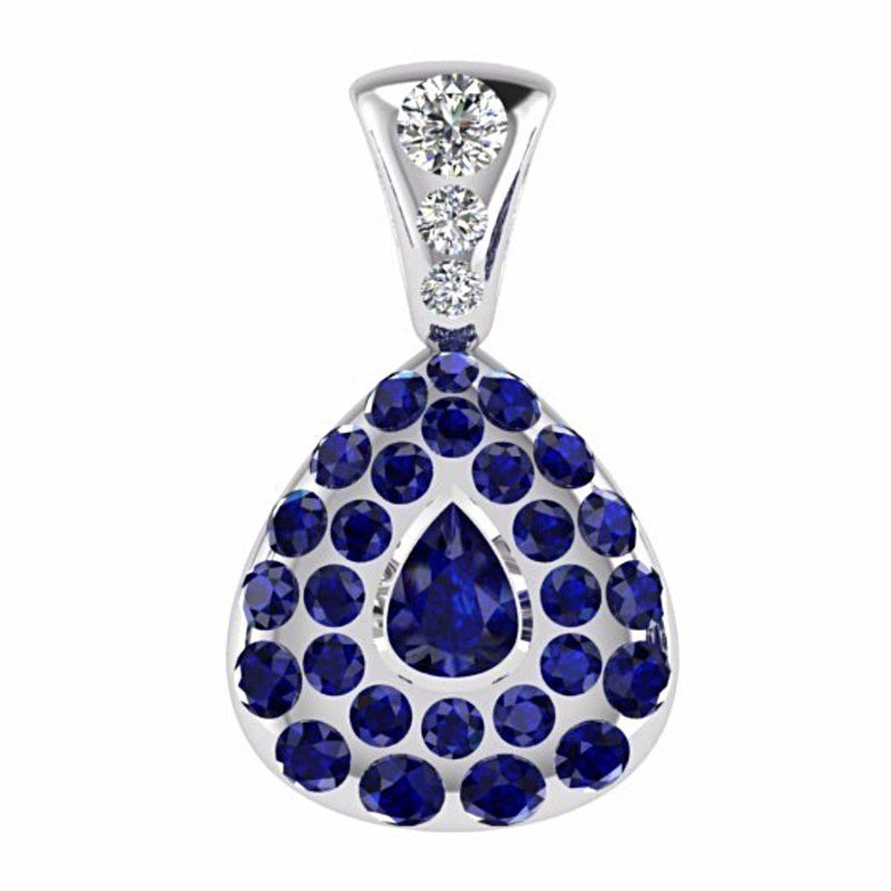 Diamond and Sapphire Pear Shaped Pendant 14K White Gold - Thenetjeweler