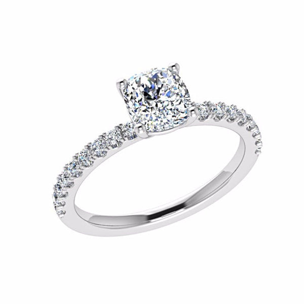 0.26cts Round Diamond Engagement Ring with Side Stones 18K Gold - Thenetjeweler by Importex