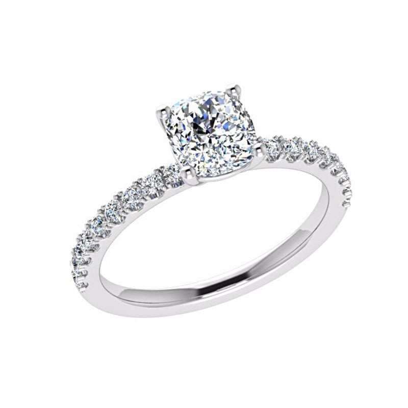 Round Diamond Engagement Ring with Side Stones 18K Gold 0.26 ct tw - Thenetjeweler