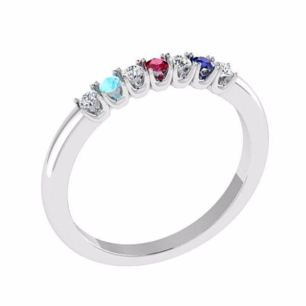 Gemstone and Diamond Semi Eternity Ring 18K Gold - Thenetjeweler by Importex