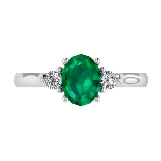 Oval Emerald and Diamond Engagement Ring 18K Gold - Thenetjeweler