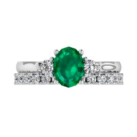 Emerald and Diamond Engagement Ring & Semi Eternity Set - Thenetjeweler