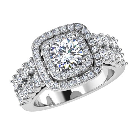 2 Row Diamond Double Halo Engagement Ring