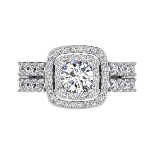 2 Row Diamond Double Halo Engagement Ring - Thenetjeweler