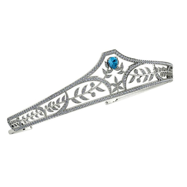Diamond Sterling Silver Bridal Tiara with Blue Topaz Stone - Thenetjeweler