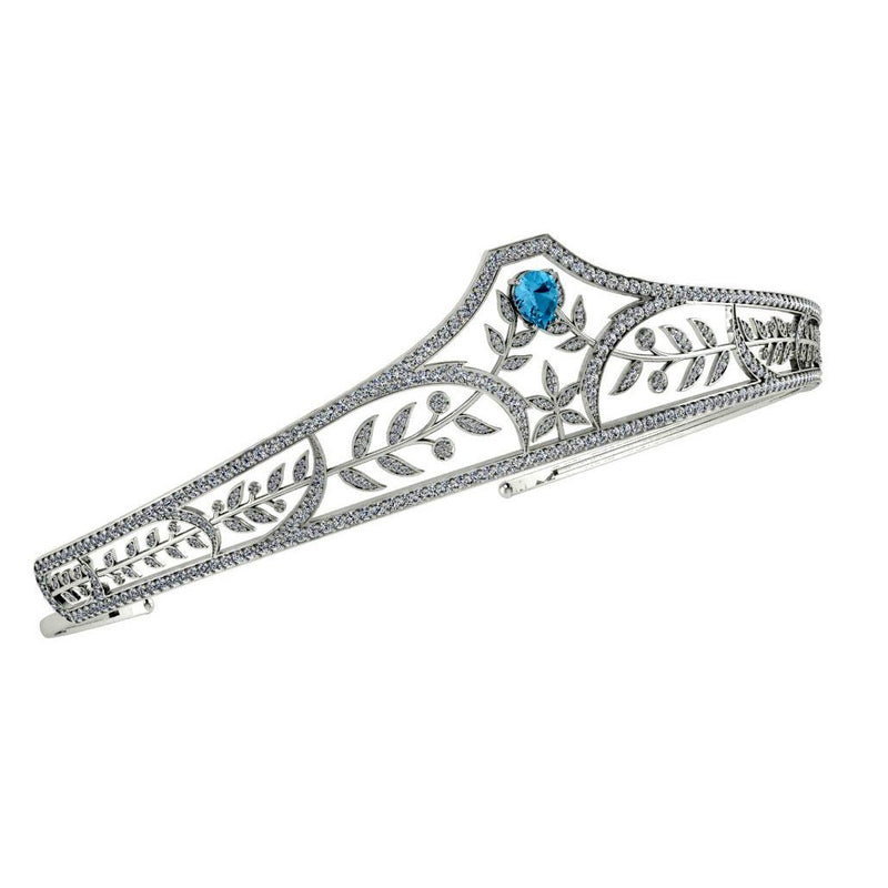 Diamond Sterling Silver Bridal Tiara with Blue Topaz Stone - Thenetjeweler by Importex