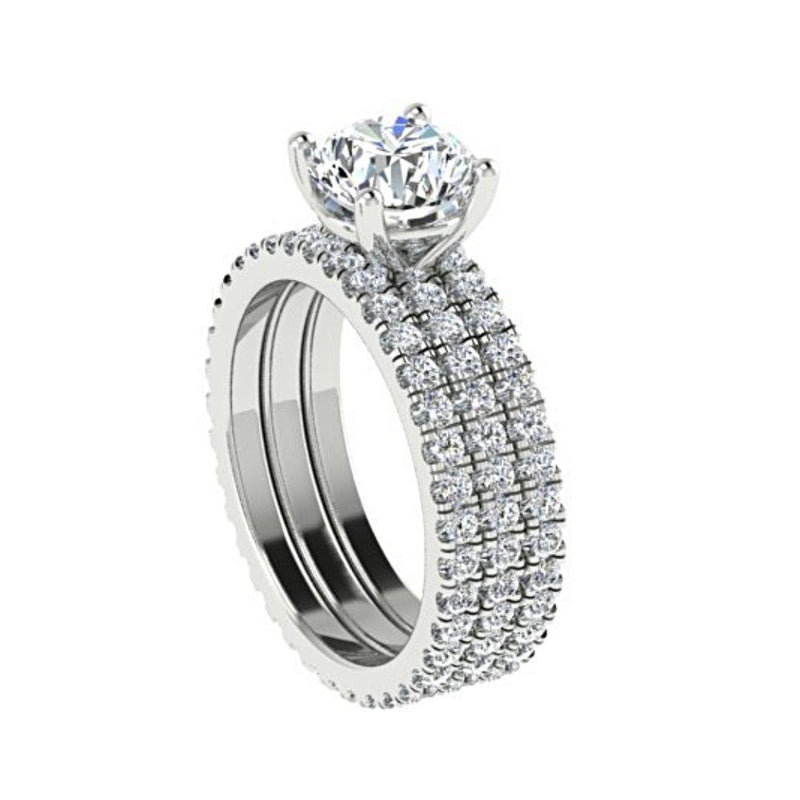 Diamond Engagement Ring and Eternity Bands Set 18K White Gold - Thenetjeweler by Importex