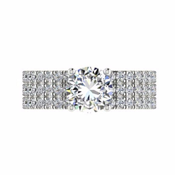 Diamond Engagement Ring and Eternity Bands Set 18K White Gold - Thenetjeweler