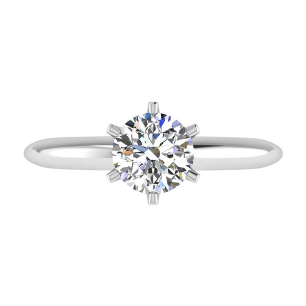 6 Prong Round Diamond Solitaire Engagement Ring 18K Gold