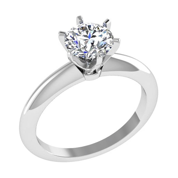 6 Prong Round Diamond Solitaire Engagement Ring 18K Gold - Thenetjeweler