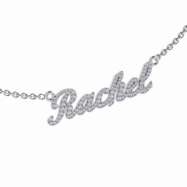 Personalized Name Necklace Rachel with Diamonds 14K Gold - Thenetjeweler by Importex