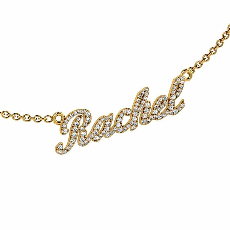 Personalized Name Necklace Rachel with Diamonds 14K Gold - Thenetjeweler