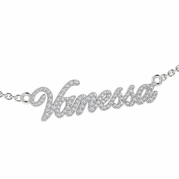 Personalized Name Necklace Vanessa with Diamonds 14K Gold - Thenetjeweler