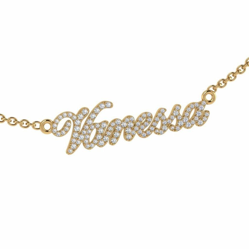 Personalized Name Necklace Vanessa with Diamonds 14K Gold - Thenetjeweler by Importex