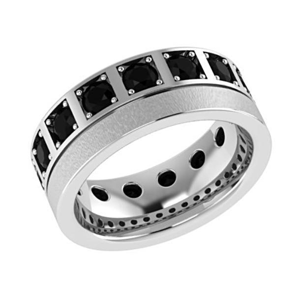 Black Diamond Wedding Band 14K White Gold - Thenetjeweler