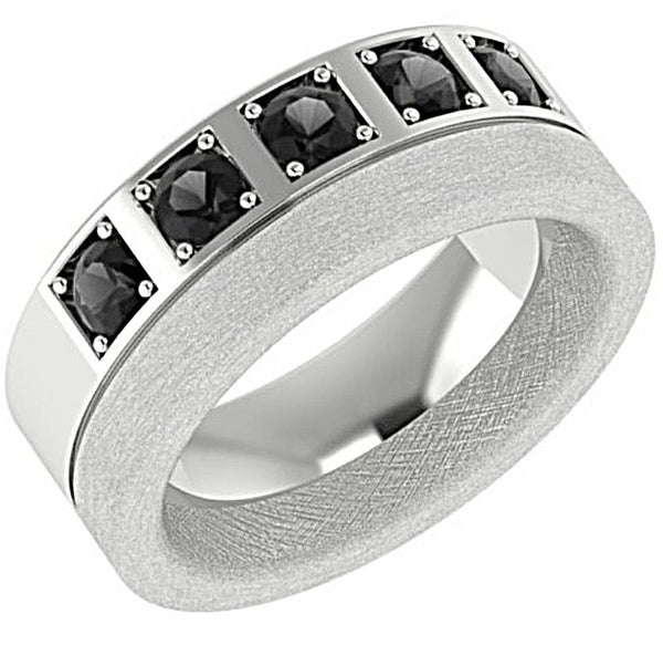 Men's Wedding Band with Black Diamonds 14K White Gold - Thenetjeweler
