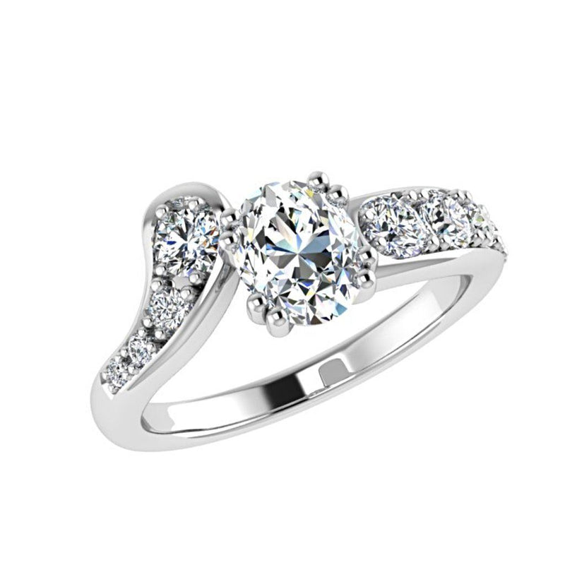 Oval Diamond Side Stones Ring 18K Gold 0.55 ct.tw - Thenetjeweler