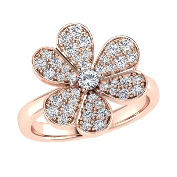 Flower Pave Diamond Ring 18K Gold (.65 ct. tw) - Thenetjeweler