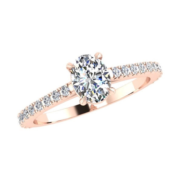 Oval Diamond Engagement Ring with Side Stones 18K Rose Gold - Thenetjeweler