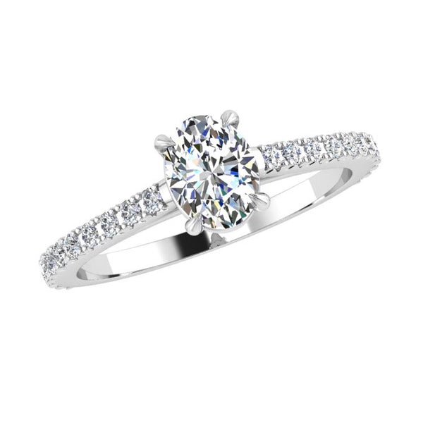 Oval Diamond Engagement Ring with Side Stones 18K Gold (0.18 ct. tw) - Thenetjeweler