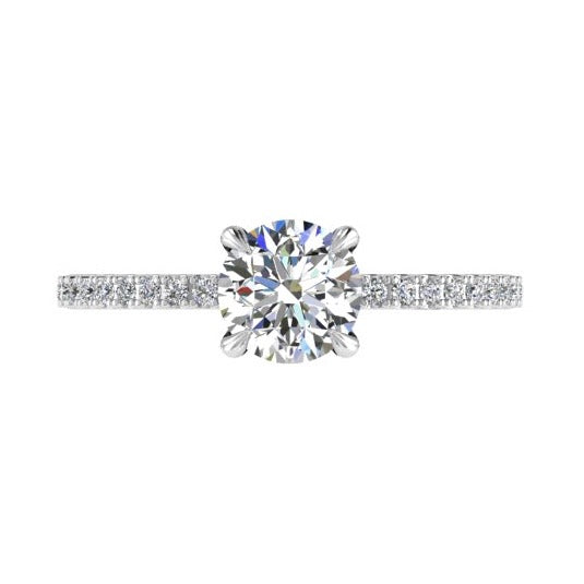 Round Diamond Engagement Ring with Side Stones 18K Gold 0.20 ct. tw - Thenetjeweler