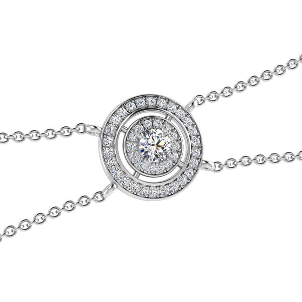 Round Diamond Double Halo Pendant Bracelet 18K Gold