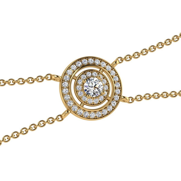 Round Diamond Double Halo Pendant Bracelet 18K Gold (0.48 ct. tw) - Thenetjeweler