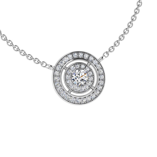 Round Diamond Double Halo Pendant Necklace 18K Gold