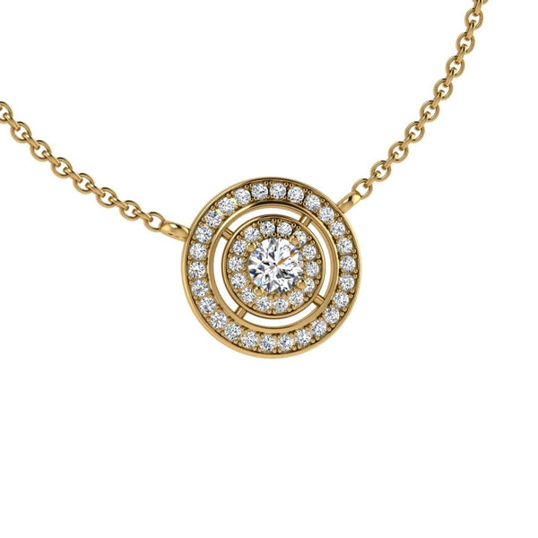 Round Diamond Double Halo Pendant Necklace 18K Gold (0.48 ct. tw) - Thenetjeweler