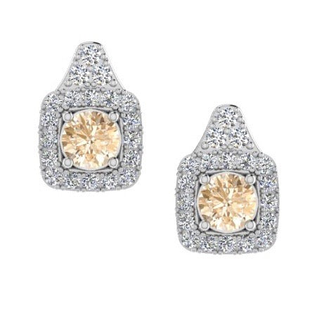 Cushion Shape Halo Diamond Stud Earrings