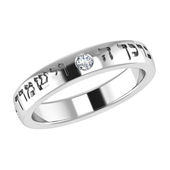 Personalized Engraved Ring with Diamonds 14K Gold - Thenetjeweler