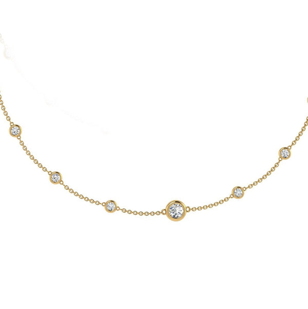 Bezel Diamond Necklace Gold 18K 0.60ctd - Thenetjeweler