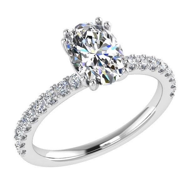 Oval Diamond Side Stone Engagement Ring 18K Gold (0.26 ct. tw) - Thenetjeweler